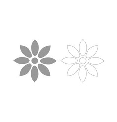 Flower grey set icon vector