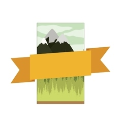 Frame mountain landscape with central ribbon vector