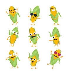 Funny corn - isolated cartoon emoticons vector