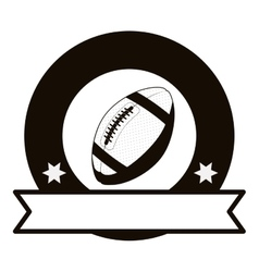 Gray scale emblem with football ball and ribbon vector
