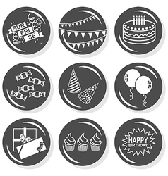 Happy birthday icons vector image vector image