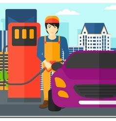 Man filling up fuel into car vector