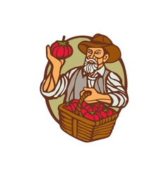 Organic Farmer Tomato Basket Woodcut Linocut vector image