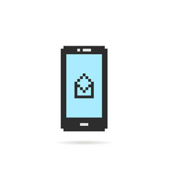 pixel art phone with open letter vector image vector image