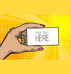 Pop art comic text business card girl woman hand vector