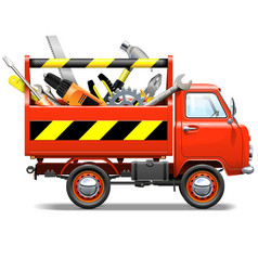 Red truck with toolbox vector