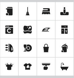 Set of 16 editable cleaning icons includes vector