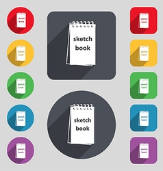 Sketchbook icon sign a set of 12 colored buttons vector