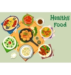 Tasty healthy dishes icon for food theme design vector