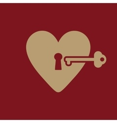 The heart and key icon heart and key symbol vector