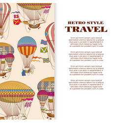 travel banner with vintage bright hot air balloons vector image