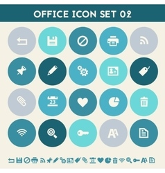 Office 2 icon set Multicolored flat buttons vector image