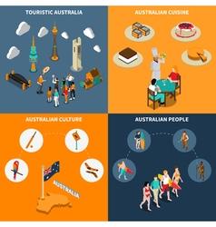 Australia travel 4 isometric icons square vector