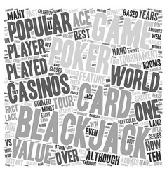 Blackjack vs poker text background wordcloud vector
