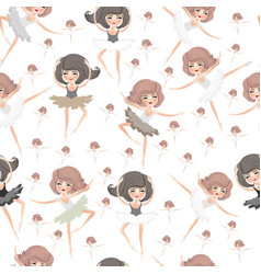 Seamless pattern with young dancing girls on a whi vector