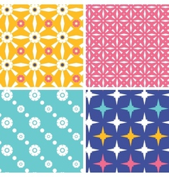 Set of four blue yellow pink geometric patterns vector