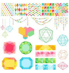 Colorful geometric set vector