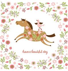 Cute Horse and little Bird vector image