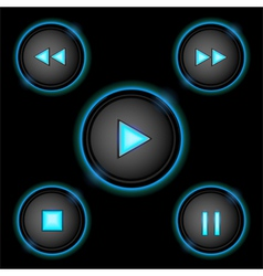 Neon control buttons blue vector