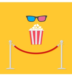 Red rope popcorn 3d glasses flat vector
