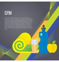 Sport gym background about healthy food water vector