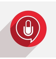 Modern microphone red circle icon vector
