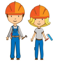 Two cartoon style workers vector