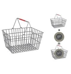 Metallic basket on isolated white background vector