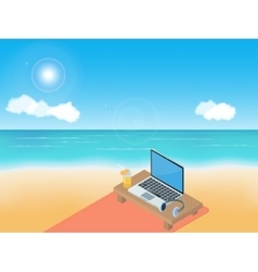 Sea beach laptop and headphones vector