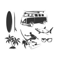 elements for summer surfing vector image