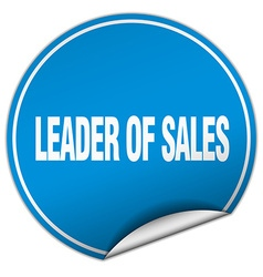 Leader of sales round blue sticker isolated on vector