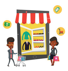 African man and woman using mobile shopping vector