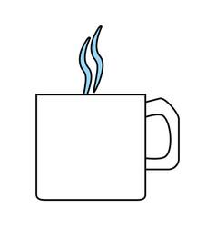 Color silhouette image cartoon mug of coffee with vector