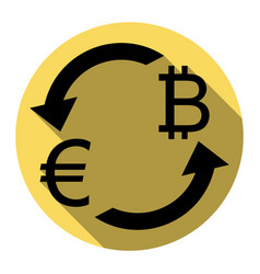 Currency exchange sign euro and bitkoin vector