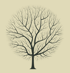 Dark brown silhouette of a tree on a light vector