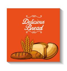 Delicious bread bakery shop vector