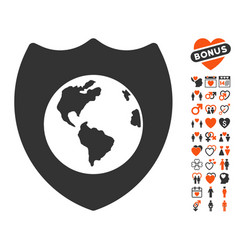 earth shield icon with dating bonus vector image vector image