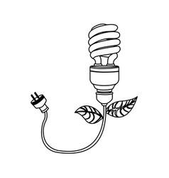 Figure bulb eco cable icon vector