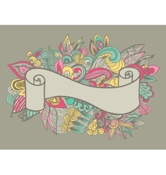 Hand drawn ribbon on the floral doole background vector