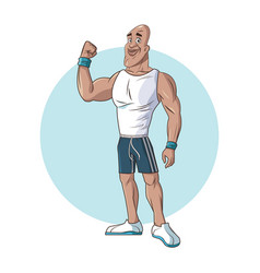 Healthy man athletic muscular strong arm vector