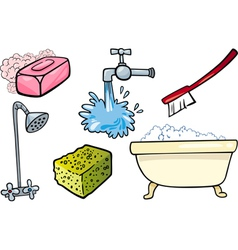 hygiene objects cartoon set vector image vector image