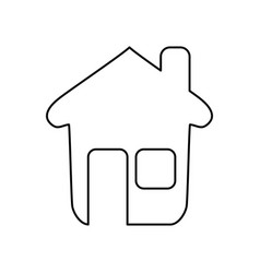 Line nice house with window and door vector