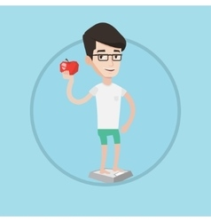 Man standing on scale and holding apple in hand vector image vector image