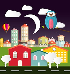 Night Flat Design City - Town with Owl - Moon - vector image