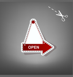 Open sign red icon with for vector