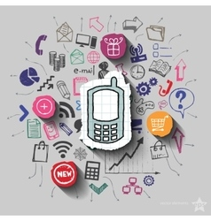 Phone and collage with web icons background vector image vector image