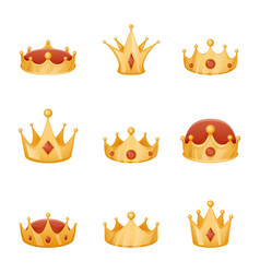 royal crown head power 3d cartoon icons set vector image