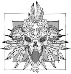 screaming skull vector image vector image