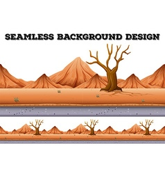 Seamless background design with tree and mountain vector image vector image