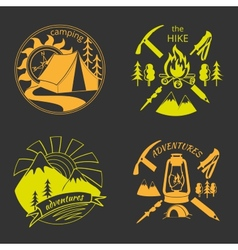 Set of vintage adventure labels vector